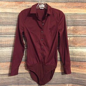 Express burgundy button down bodysuit NWOT